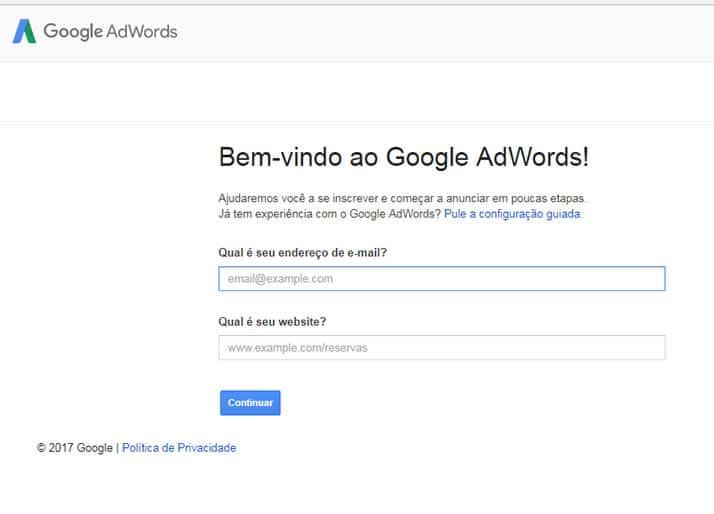 criar conta no adwords