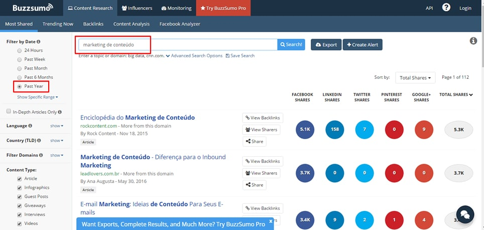 buzzsumo marketing de conteudo