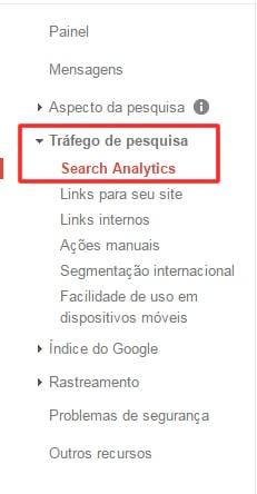 menu google search console