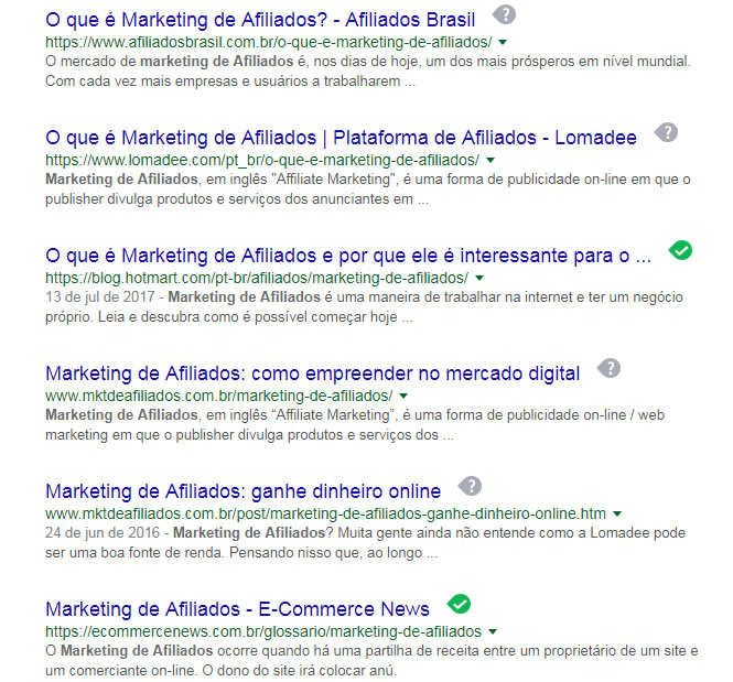 marketing de afiliados resultados