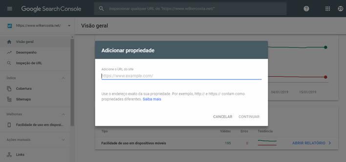 adicionar nova propriedade search console